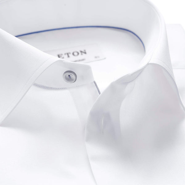 Eton Dress Shirts Contemporary Fit White Twill w/Grey Detail
