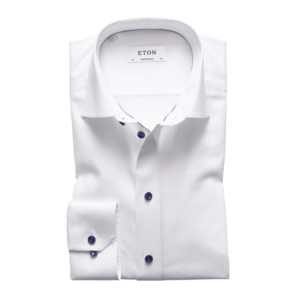 Eton Dress Shirts Contemporary Fit White Twill w/ Navy Detail