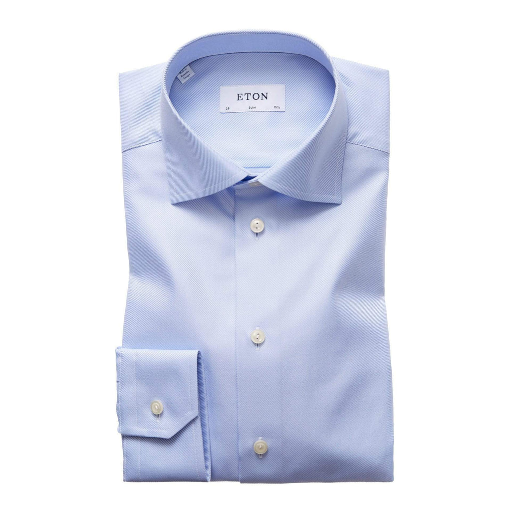 Eton Dress Shirts Slim Fit Light Blue Textured Twill