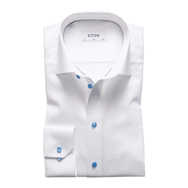 Eton Dress Shirts Slim Fit White Twill w/Blue Detail