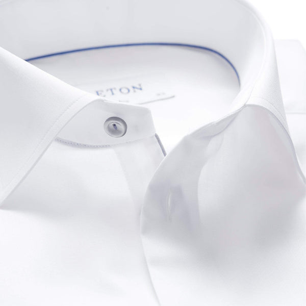 Eton Dress Shirts Slim Fit White Twill w/Grey Detail