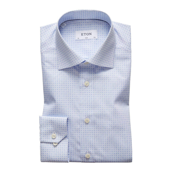 Eton Dress Shirts Slim Sky Blue Geometric Poplin Dress Shirt