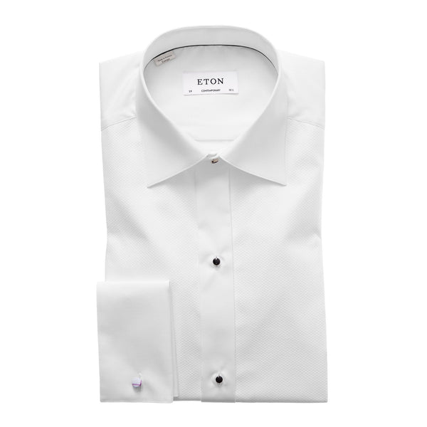 Eton Formal Wear Contemporary Fit Piqué Black Tie Shirt