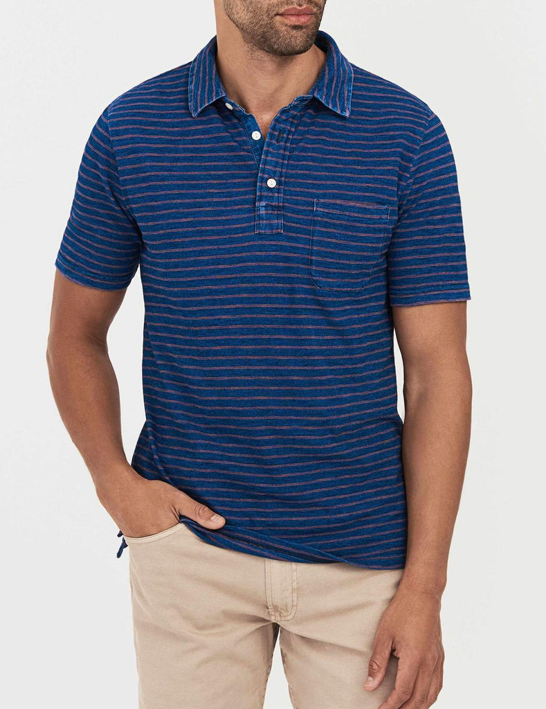 Faherty Polos Indigo Polo- Dark Wash Red Stripe