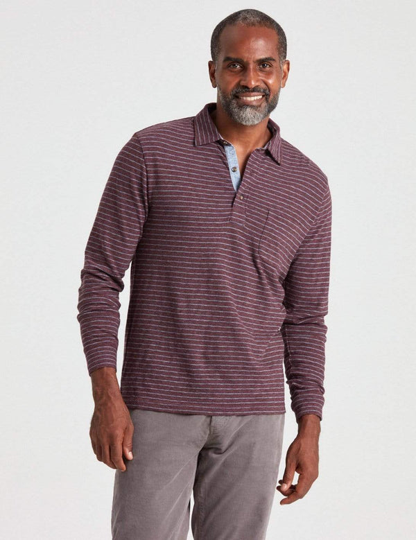 Faherty Polos Long Sleeve Luxe Striped Heather Polo- Merlot Flint