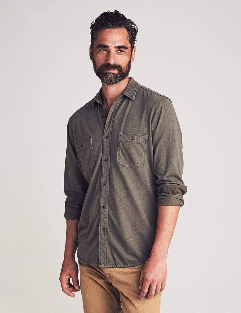 Faherty Sport Shirts Knit Seasons Shirt- Olive
