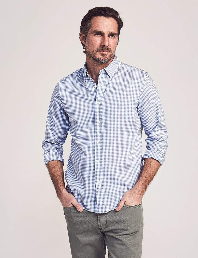 Faherty Sport Shirts Movement Shirt- Blue Gingham