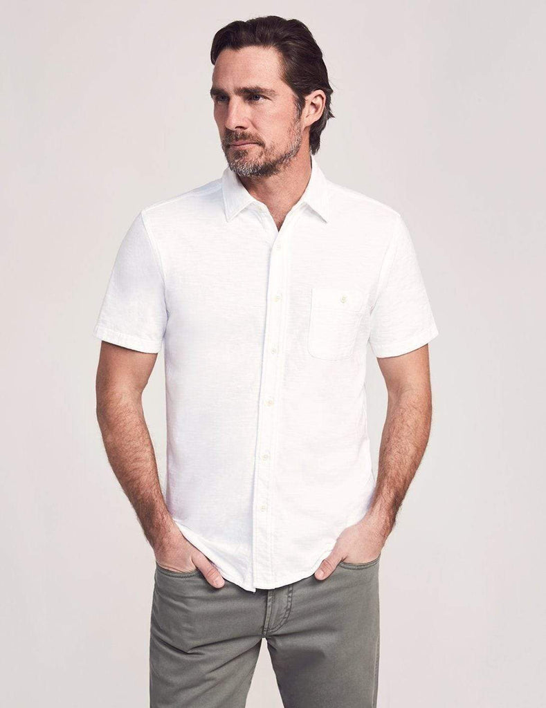 Faherty Sport Shirts Short Sleeve Knit Seasons Shirt- White