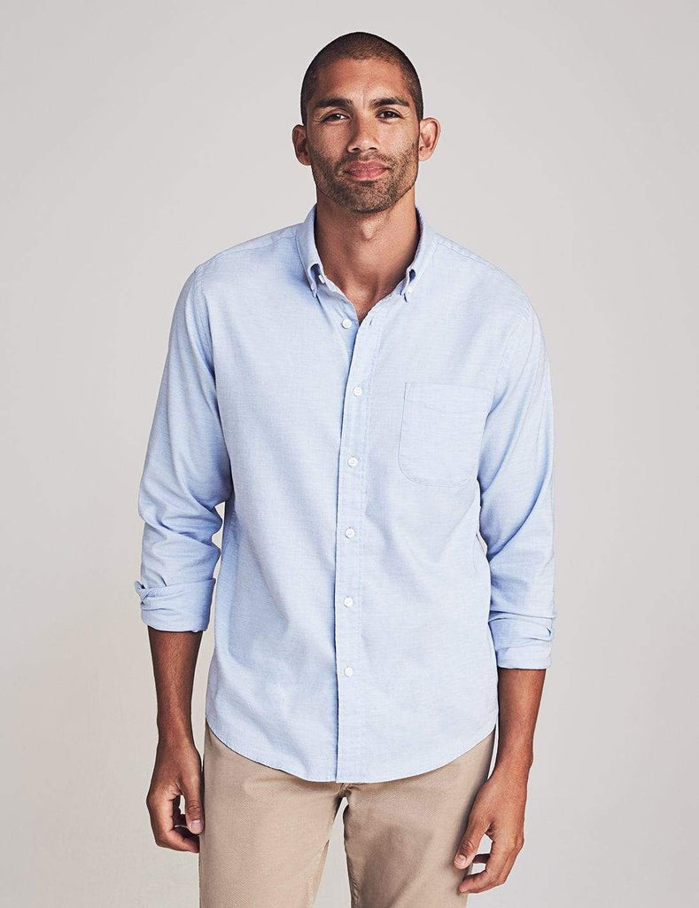 Faherty Sport Shirts Stretch Oxford Shirt- Blue Heather