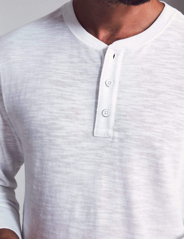 Faherty T-Shirts Slub Cotton Henley- White