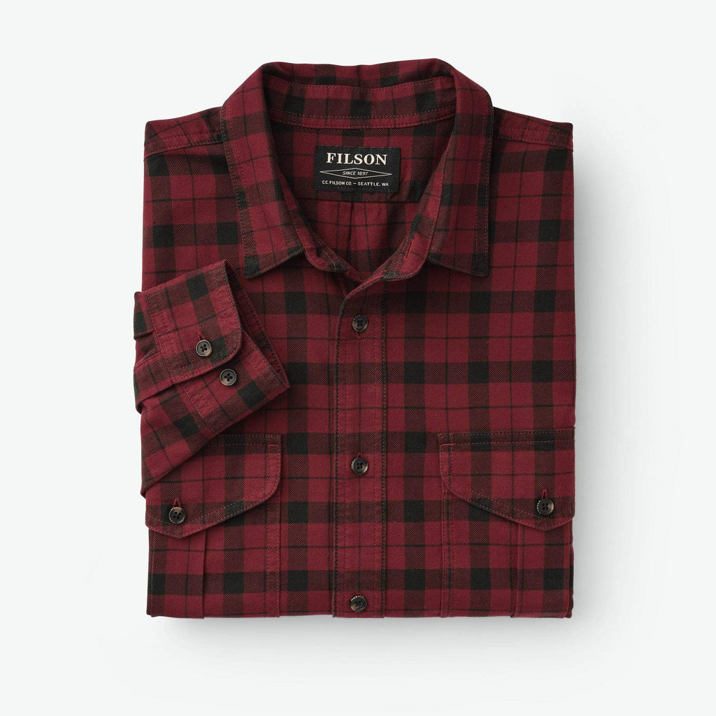 Filson Sport Shirts Lightweight Alaskan Guide Shirt- Oxblood Plaid