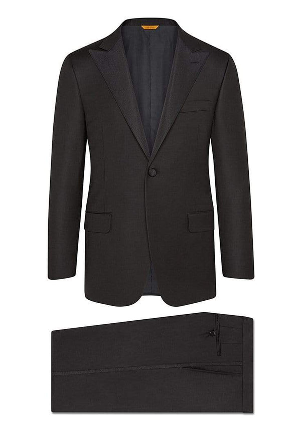 Hickey Freeman Formal Wear Black Peak Lapel Tasmanian Tuxedo