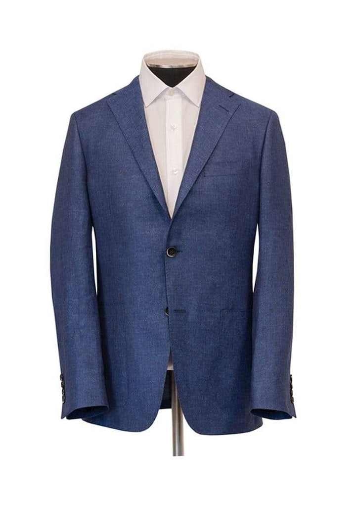 Hickey Freeman Sport Coats Denim Blue Textured Cross Ply