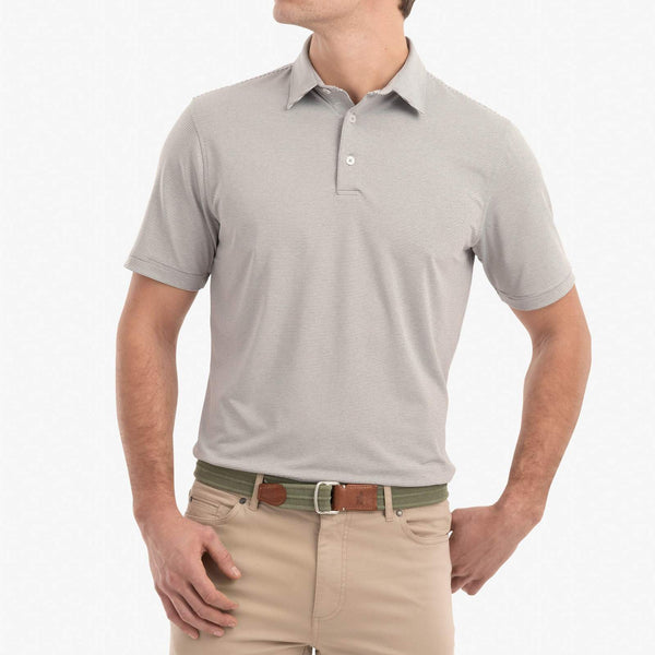 Johnnie O Polos Lyndon Striped Performance Striped Polo- Meteor