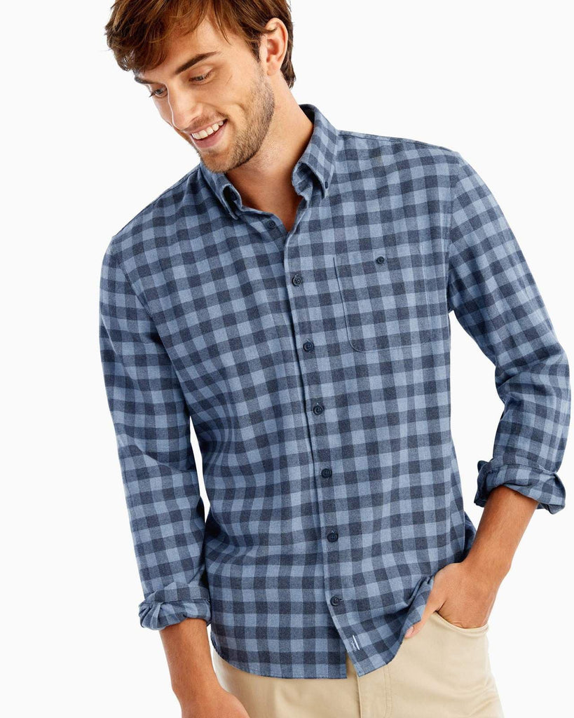 Johnnie O Sport Shirts Hawkins Flannel Hangin' Out Button Down- Laguna Blue