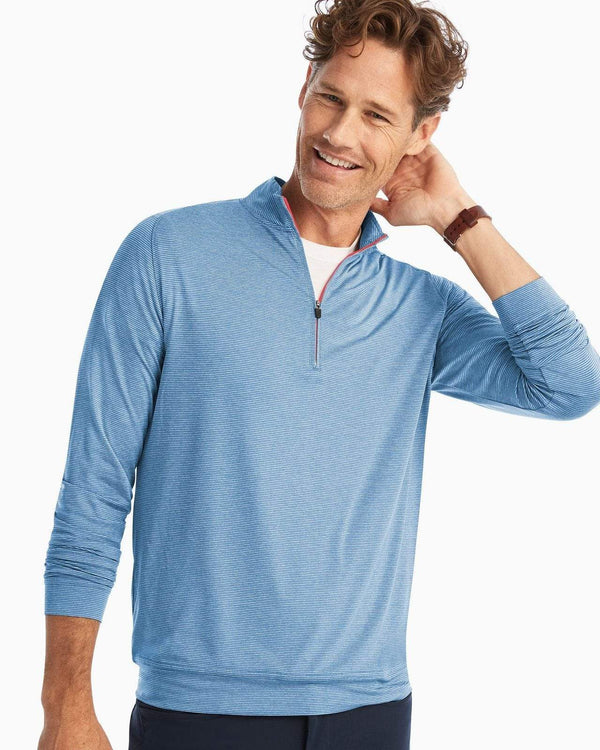 Johnnie O Sweaters Vaughn Striped 1/4 Zip- Del Ray