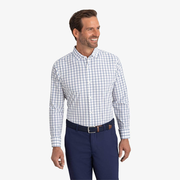 Mizzen & Main Dress Shirts Leeward Dark Blue Windowpane