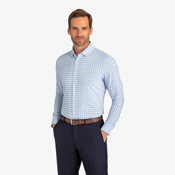 Mizzen & Main Dress Shirts Leeward Light Blue Check
