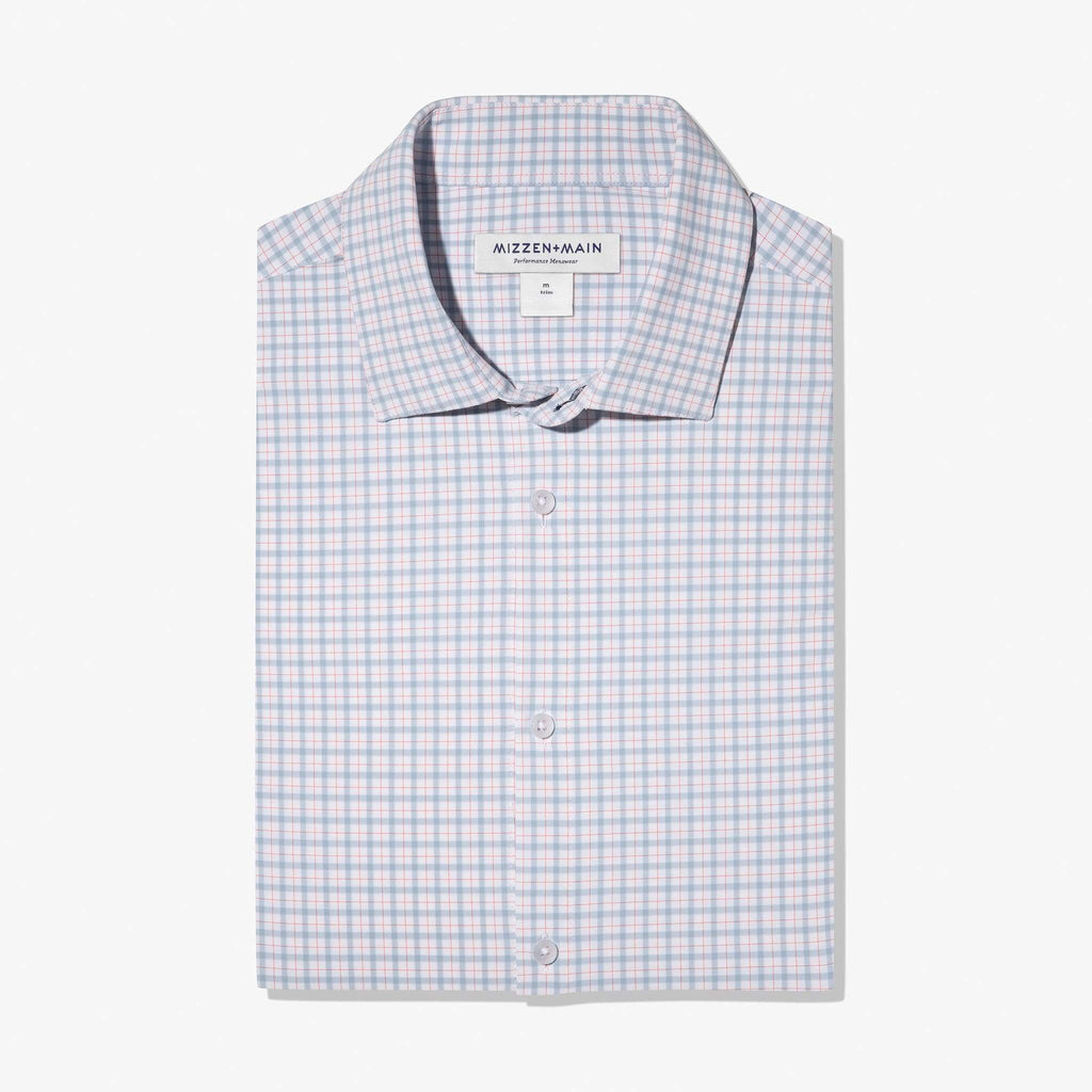 Mizzen & Main Dress Shirts Leeward Light Blue & Orange Check Dress Shirt