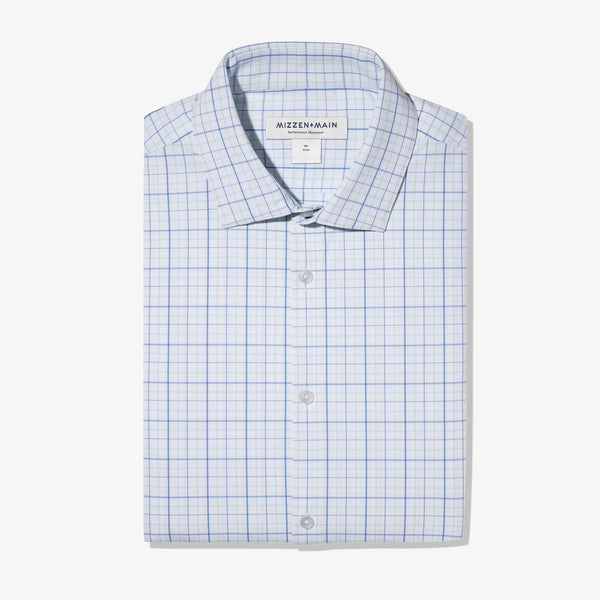 Mizzen & Main Sport Shirts Leeward Aqua Blue Tattersall