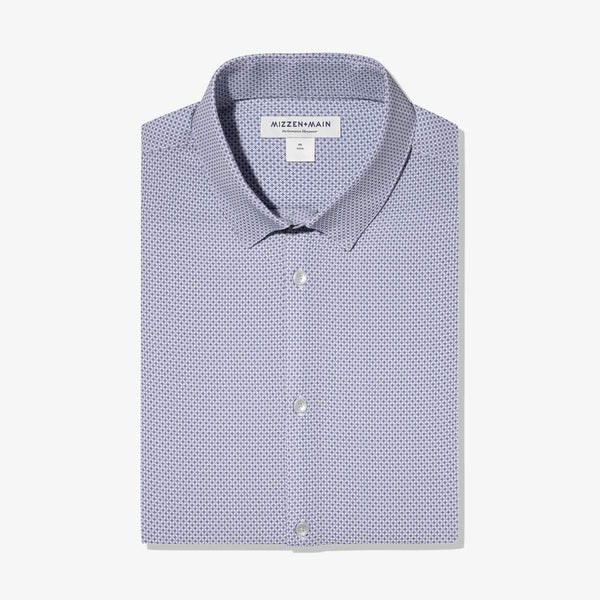 Mizzen & Main Sport Shirts Leeward Navy Grey Geo Print