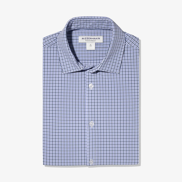 Mizzen & Main Sport Shirts Leeward Navy Purple Check