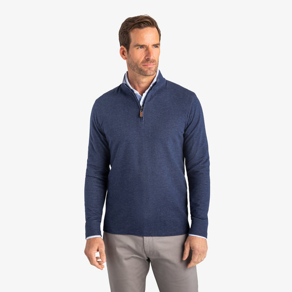 Mizzen & Main Sweaters Fairway Pullover- Navy Heather