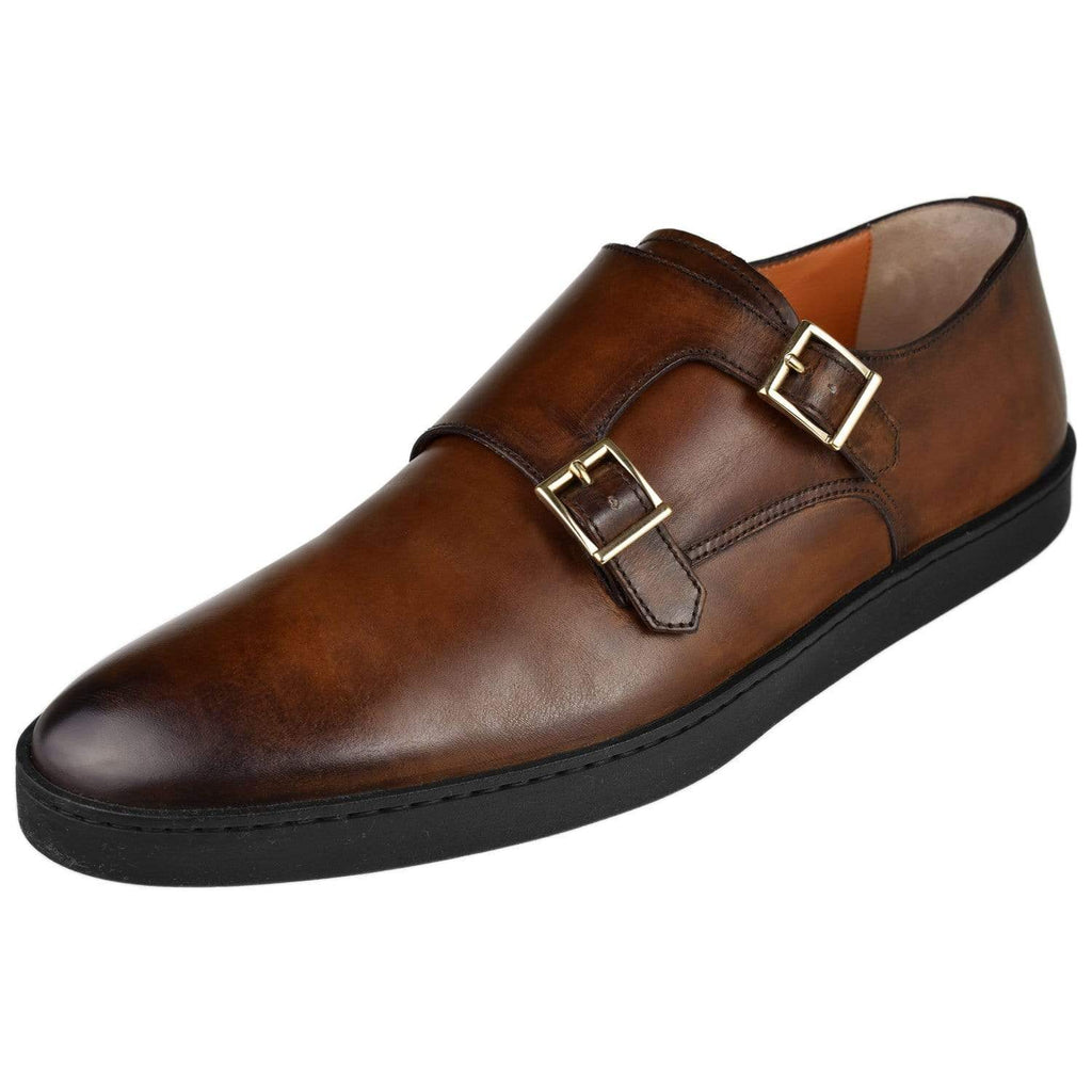 Santoni Shoes Santoni Mens Fremont Double Monk Dress Sneaker Fremont-2-Dkbrown