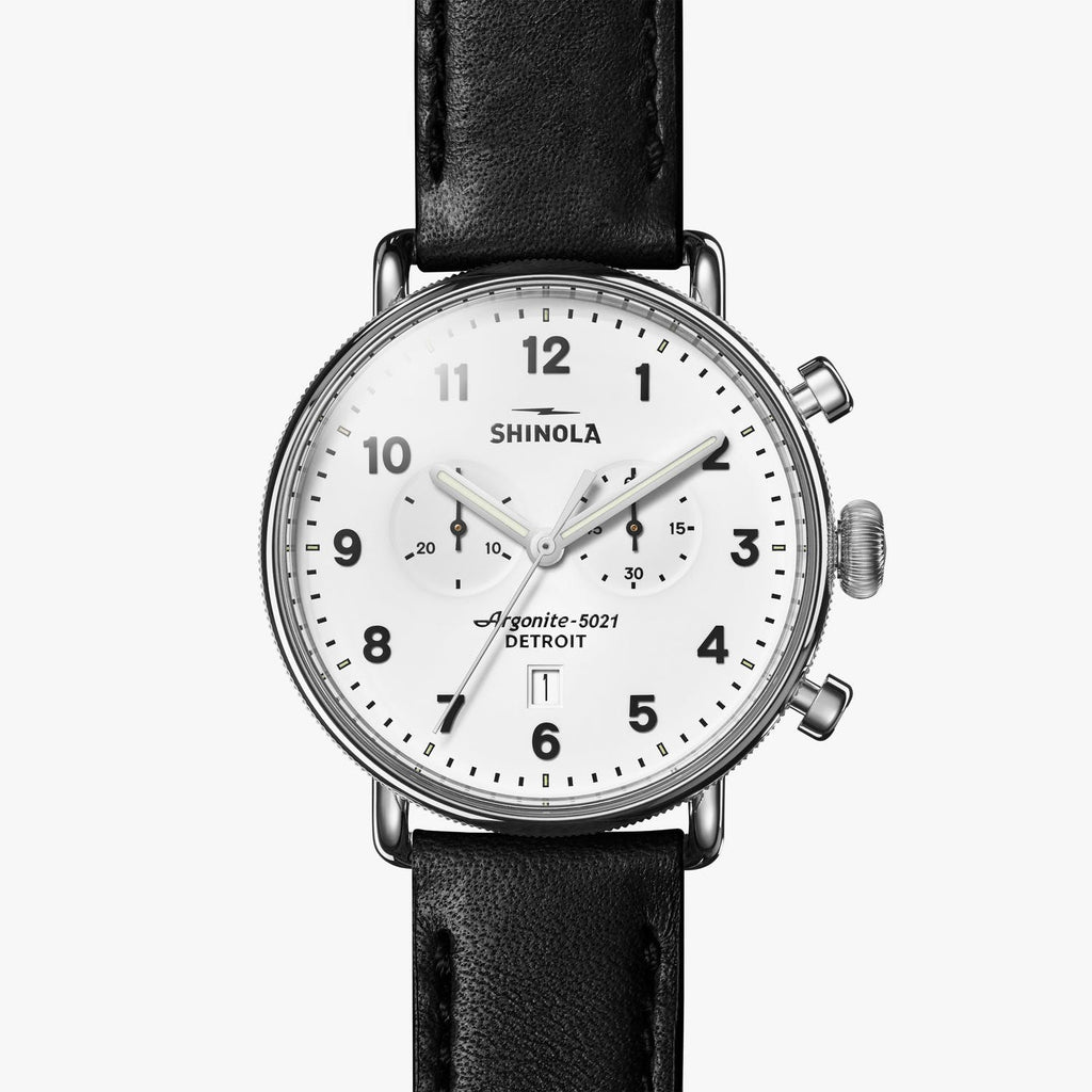 Shinola Watches The Canfield Chrono 43 MM White Dial