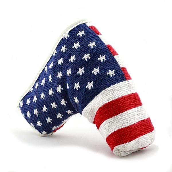 Smathers & Branson Small Leather Goods American Flag Needlepoint Putter Cover