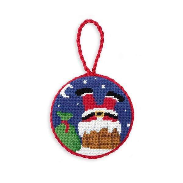 Smathers & Branson Small Leather Goods Chimney Santa Needlepoint Ornament