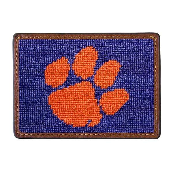 Smathers & Branson Small Leather Goods Clemson Needlepoint Card Wallet