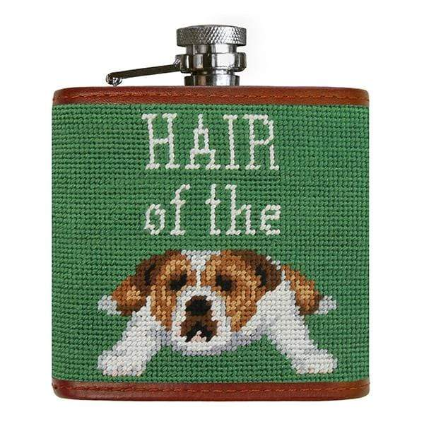 Smathers & Branson Small Leather Goods Hair of the Dog Needlepoint Flask