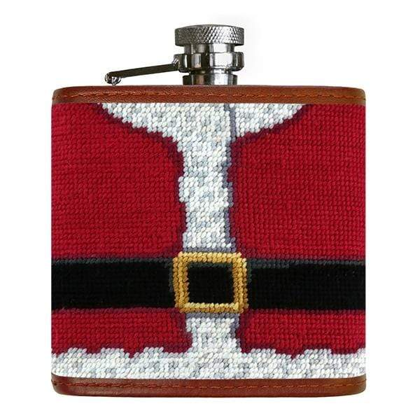Smathers & Branson Small Leather Goods Santa Needlepoint Flask