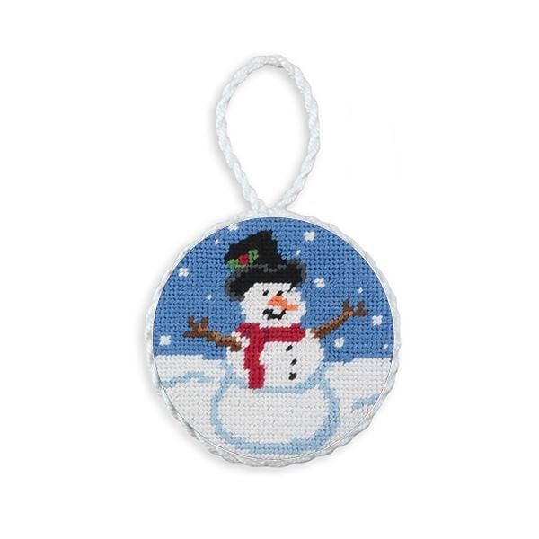 Smathers & Branson Small Leather Goods Snowman Needlepoint Ornament