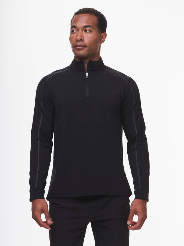 TASC Sweaters Carrollton Lightweight Quarter Zip- Black