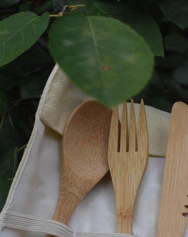 Reusable + Portable Bamboo Cutlery Set