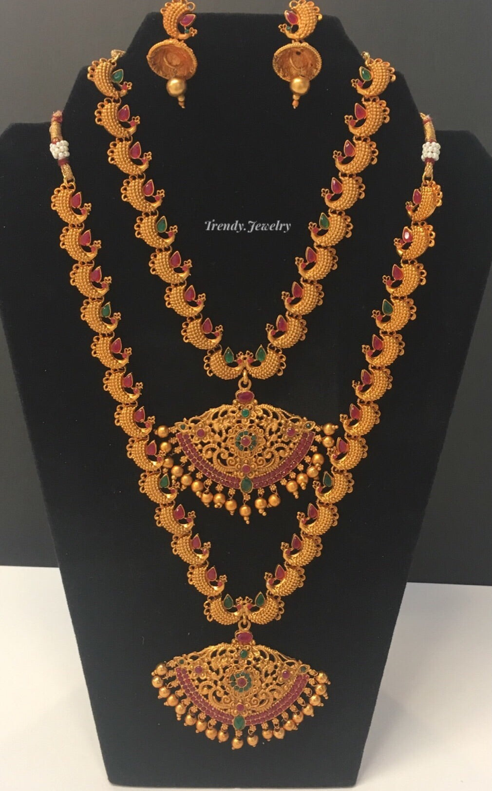 Bridal Antique Gold With Ruby Emerald Necklace Set Trendy Jewelry