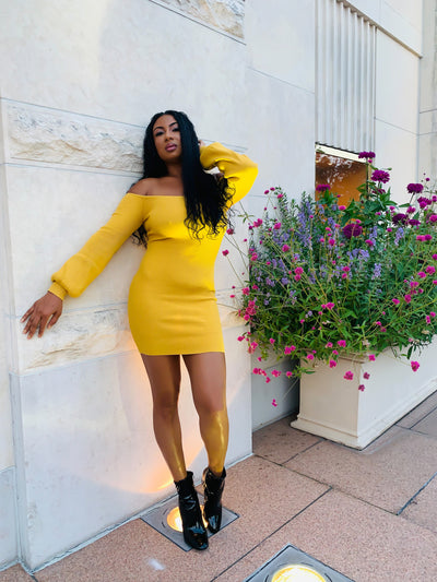 THE KENYA OFF THE SHOULDER RIBBED BODY-CON DRESS