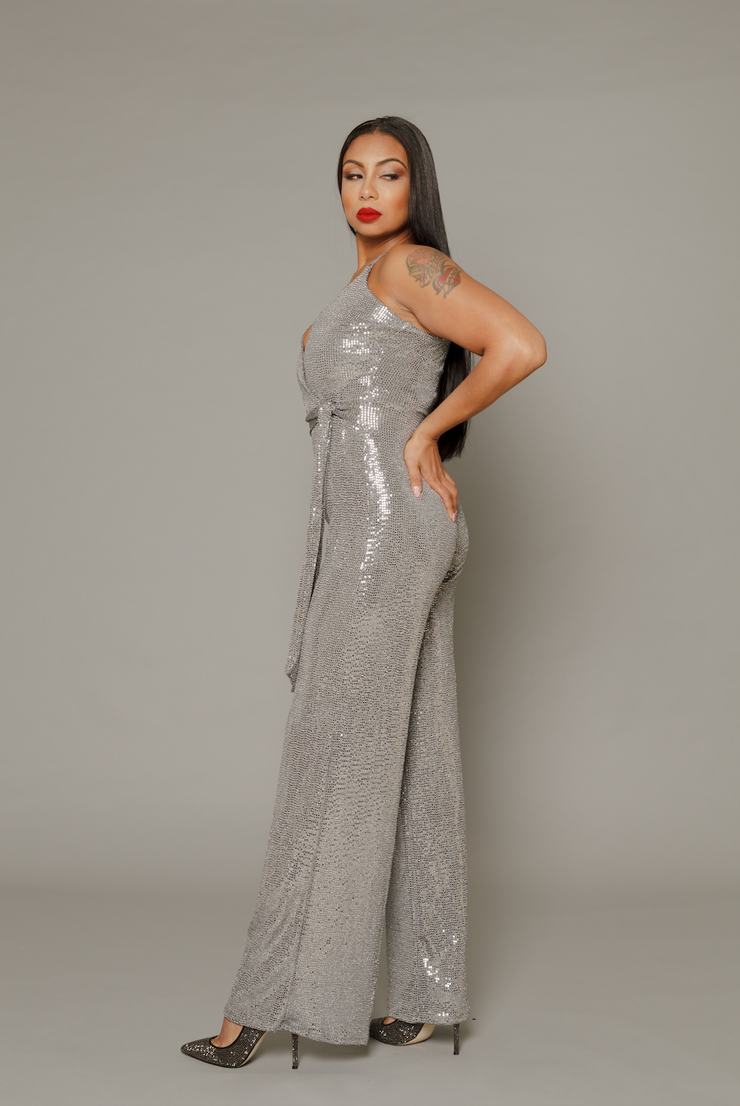 THE DIANA SILVER SEQUIN WIDE LEG JUMPSUIT