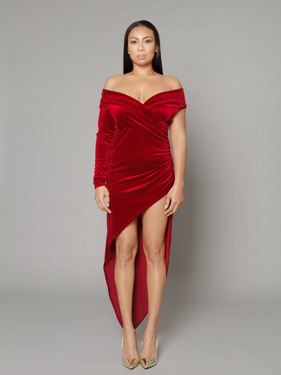 THE HALLE BORDEAUX DRAPED VELVET DRESS