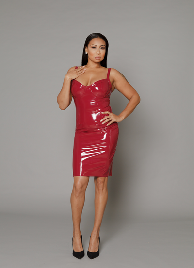 THE LEXY LATEX BORDEAUX BODY-CON DRESS