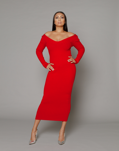 THE RUBY RED RIBBED KNIT DRESS