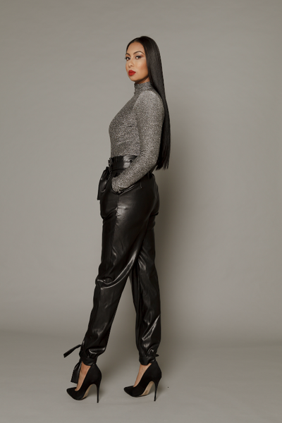 THE WHITNEY LEATHERETTE CUFFED TROUSER