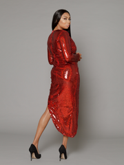 THE CARMEN RED SEQUIN SPLIT DRESS
