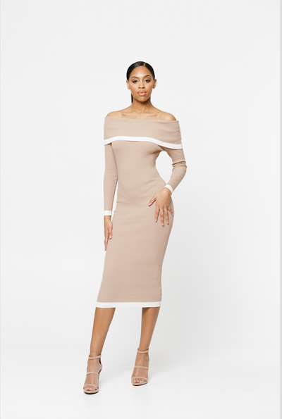 THE MARLEEN TAUPE OFF THE SHOULDER DRESS