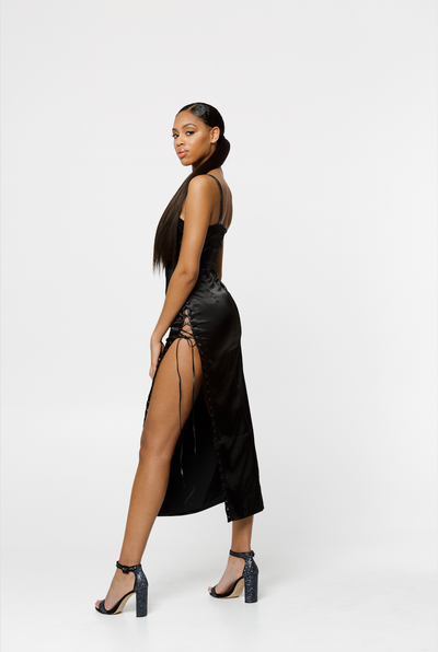 THE KELSEY SILKY SATIN SPLIT BLACK DRESS