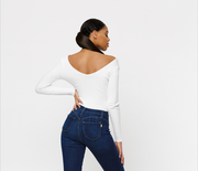 THE WHITE RIBBED BODYSUIT