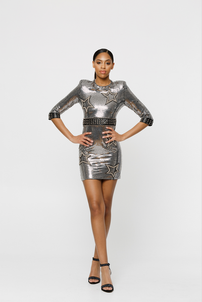 THE BRITTANY SILVER STAR SEQUIN DRESS