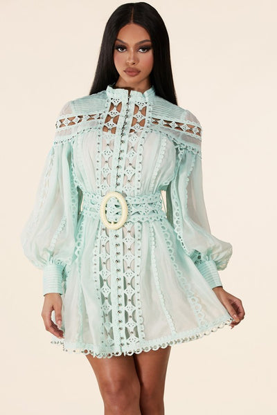 THE MINT ROYAL BUTTON- DOWN BODICE DRESS